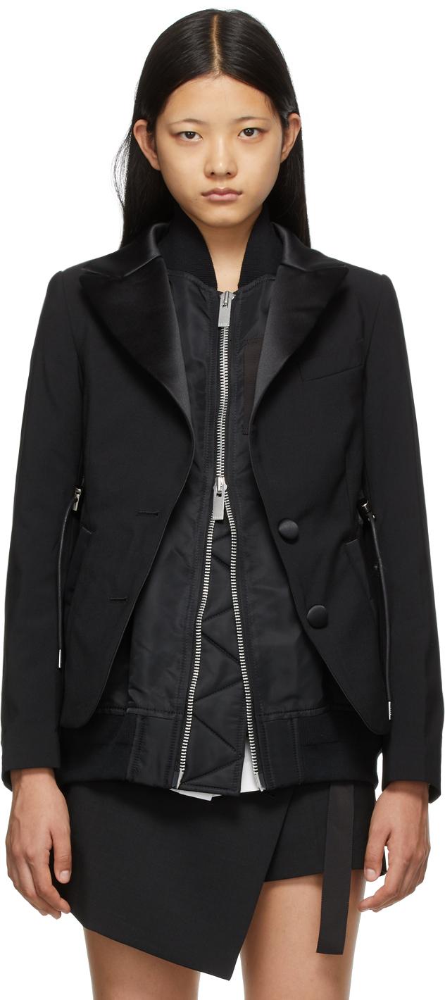 Sacai Black Suiting Mix Blazer
