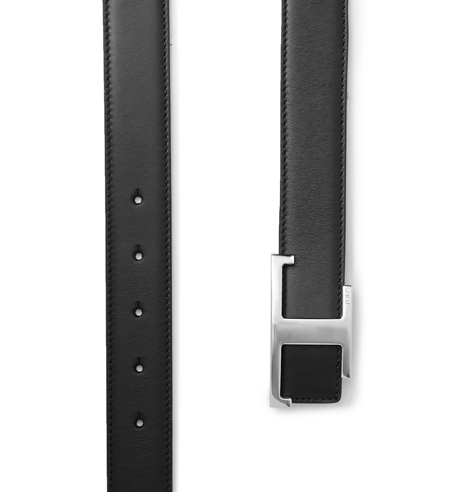 Tod's - 3cm Reversible Smooth and Full-Grain Leather Belt - Black