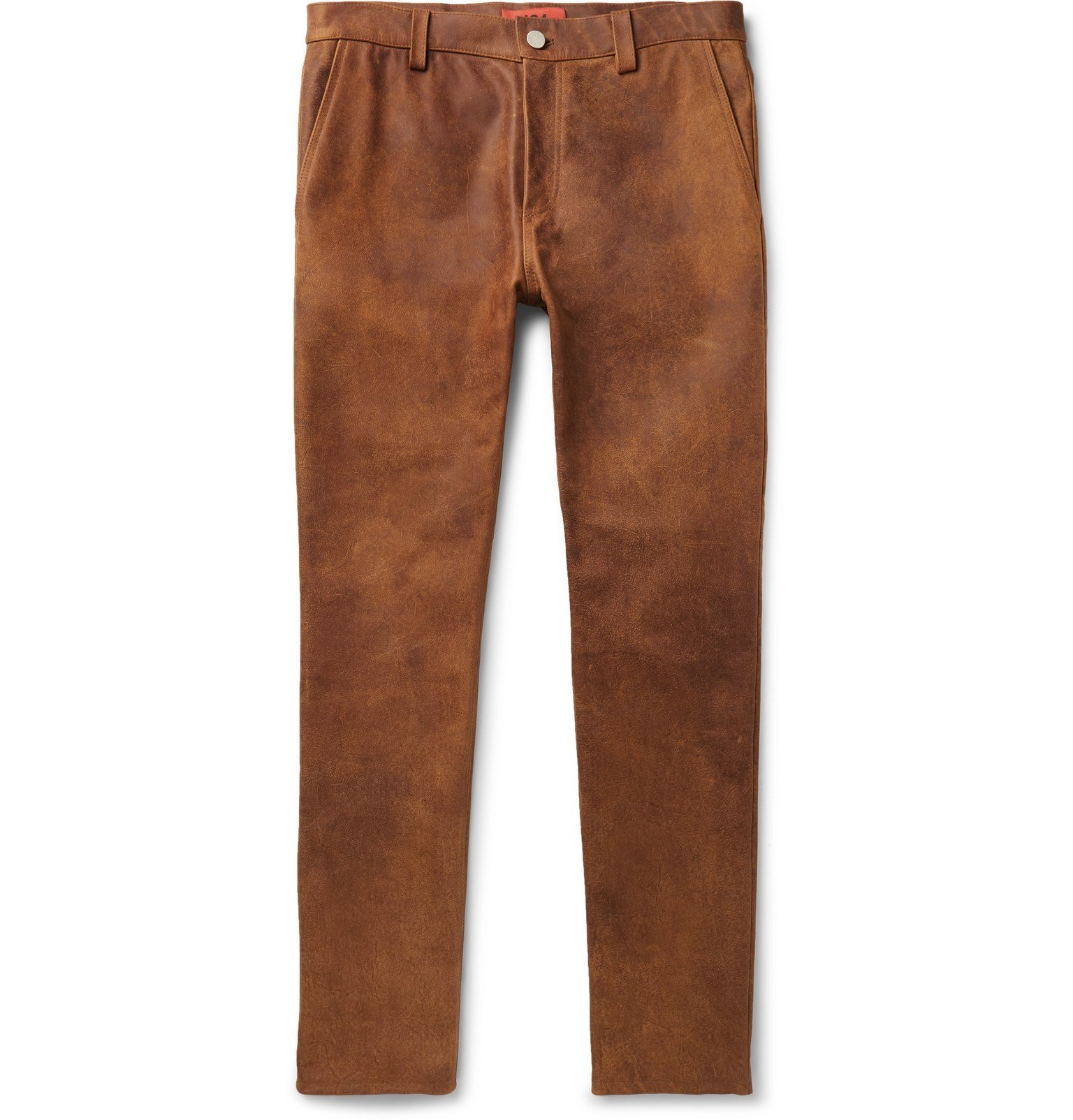 Photo: 424 - Slim-Fit Leather Trousers - Brown
