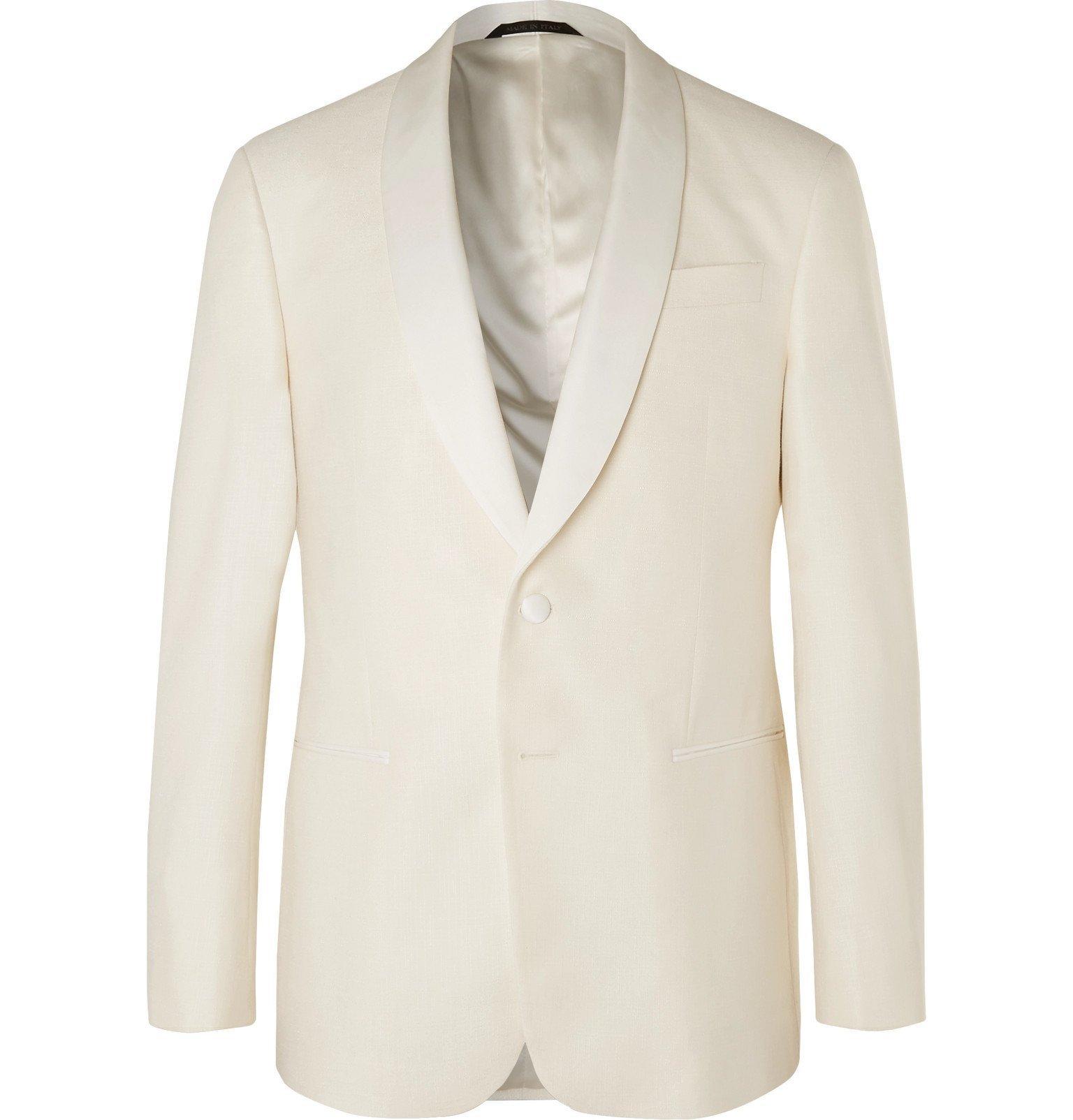 Giorgio Armani - White Shawl-Collar Slub Silk and Wool-Blend Tuxedo Jacket - White