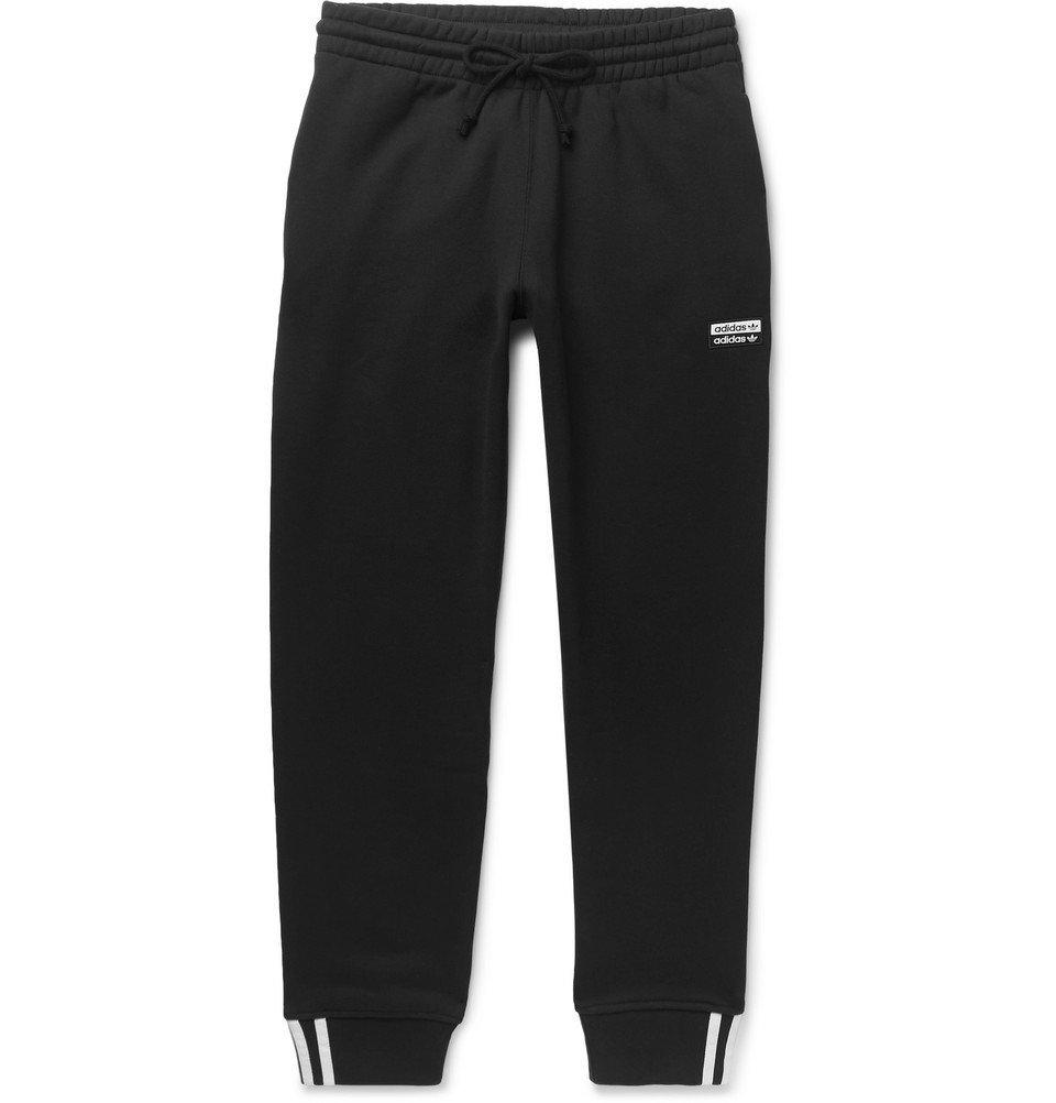 Photo: adidas Originals - Tapered Logo-Appliquéd French Cotton-Terry Sweatpants - Black