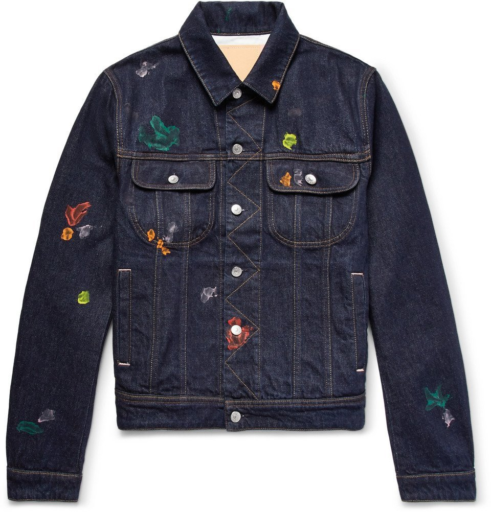 Photo: Acne Studios - Tent Gum Paint-Splattered Denim Jacket - Dark denim