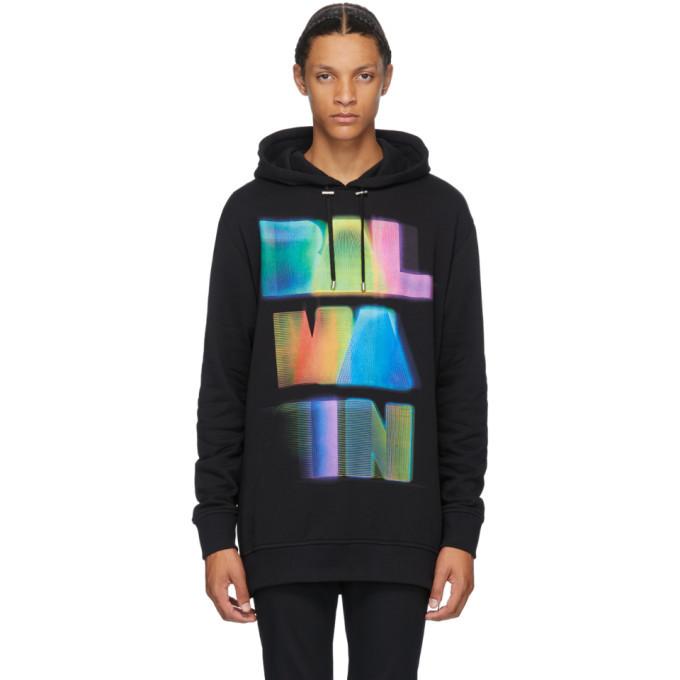 Photo: Balmain Black and Multicolor Oversized Hoodie