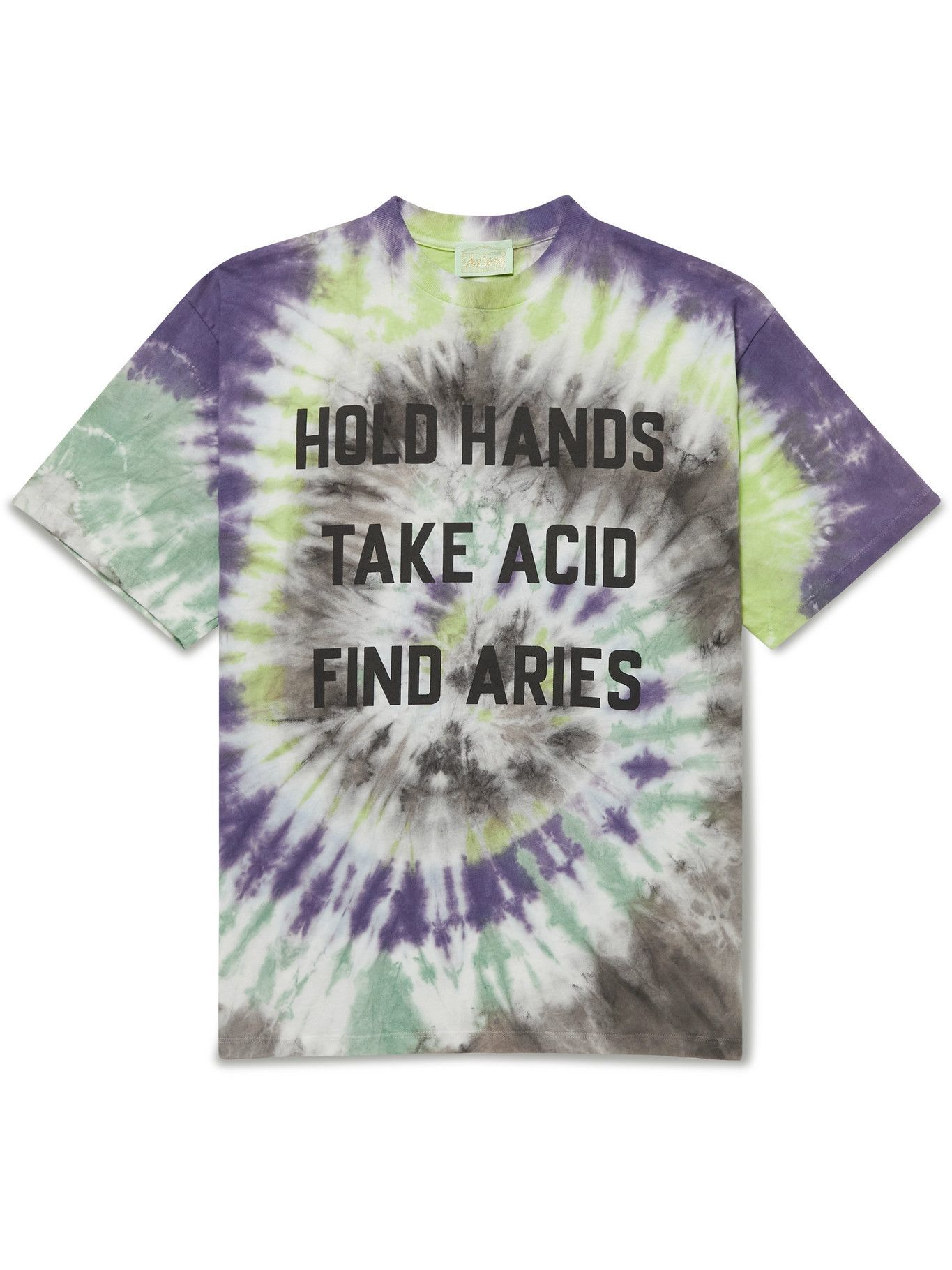 Photo: Aries - Printed Tie-Dyed Cotton-Jersey T-Shirt - Multi