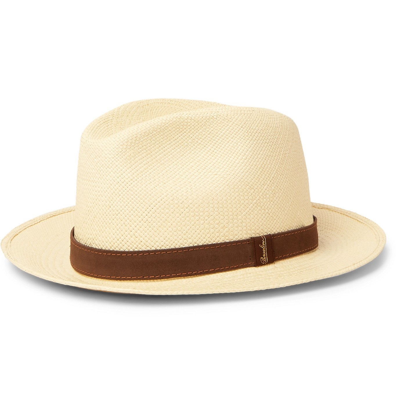 Photo: Borsalino - Country Suede-Trimmed Straw Panama Hat - Brown