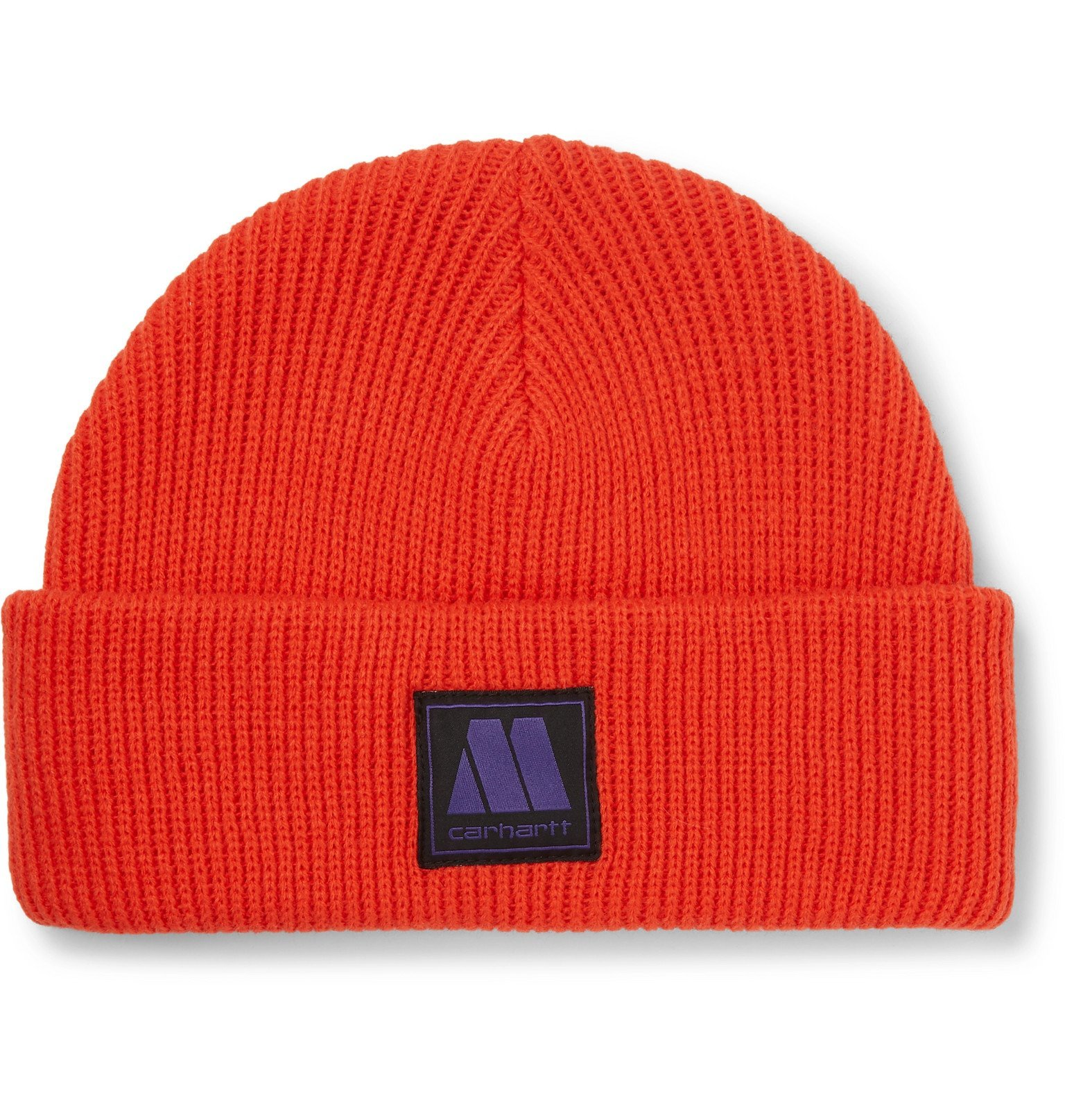 Photo: Carhartt WIP - Motown Records Marvin Logo-Appliquéd Ribbed-Knit Beanie - Red