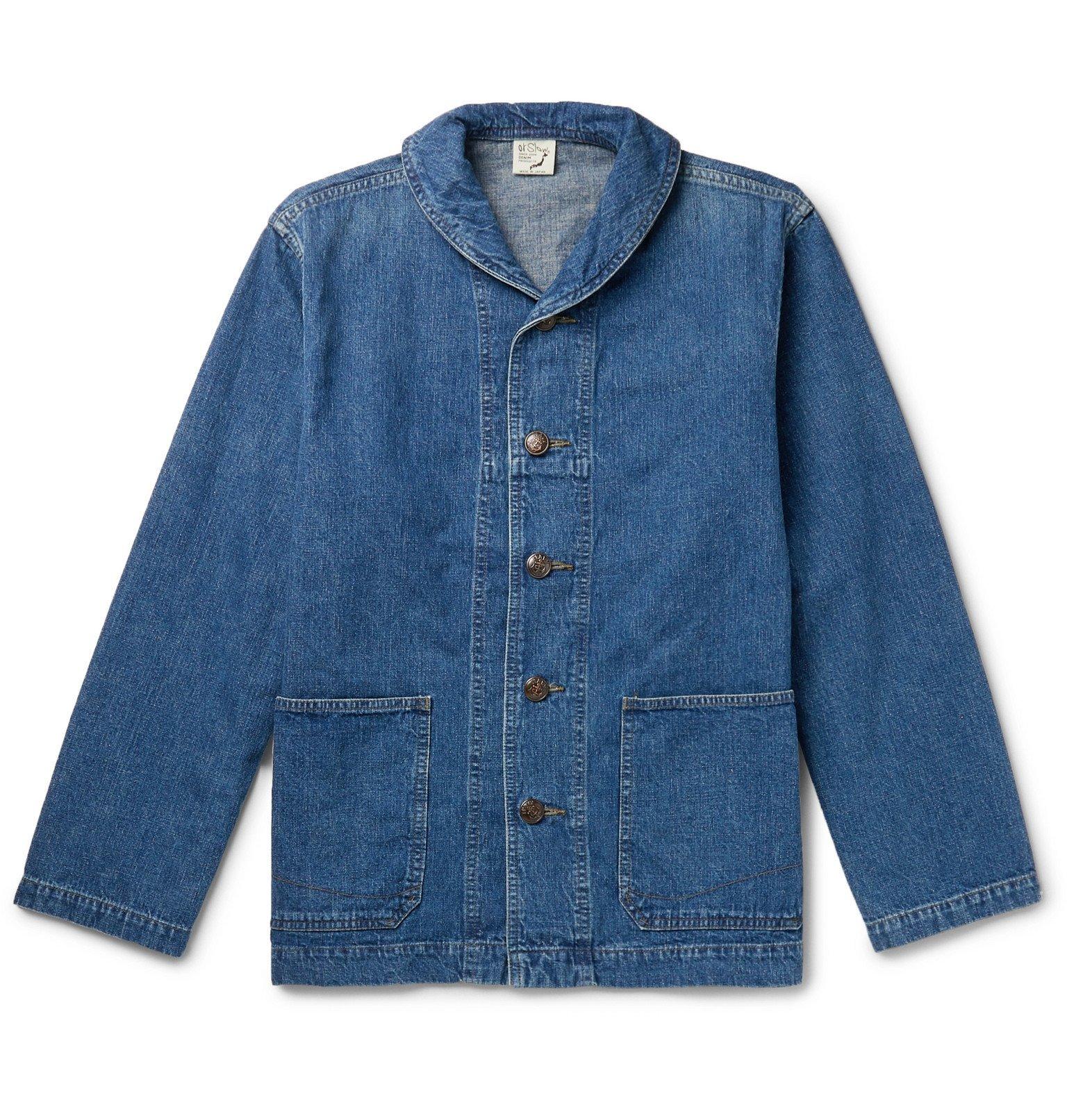 Photo: OrSlow - Shawl-Collar Denim Jacket - Blue