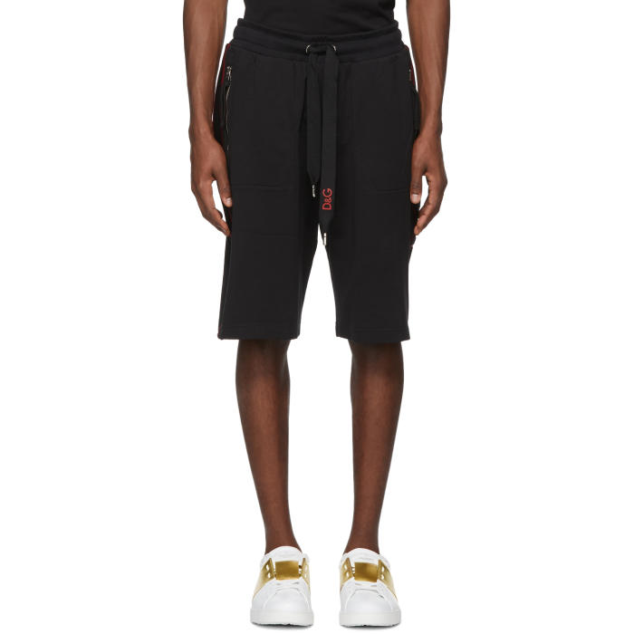 Photo: Dolce and Gabbana Black Side Appliqué Sweat Shorts