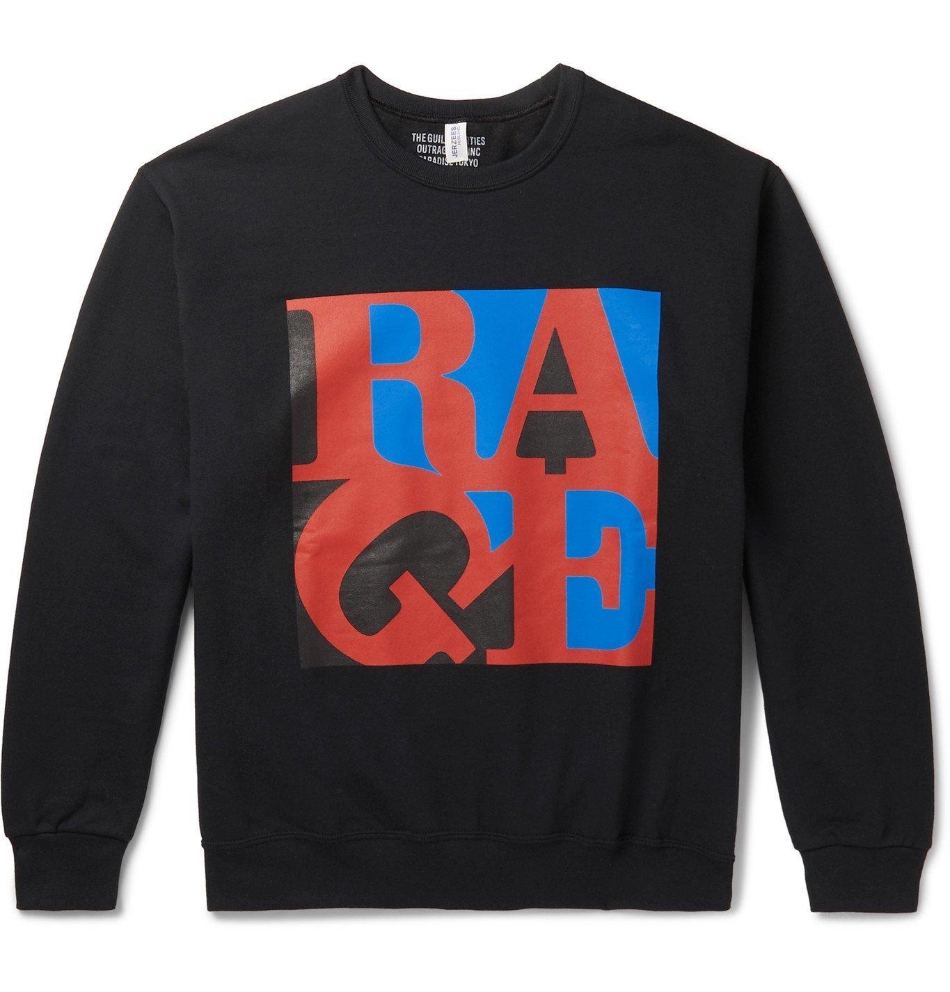 Photo: Wacko Maria - Rage Against The Machine Printed Fleece-Back Cotton-Blend Jersey Sweatshirt - Black