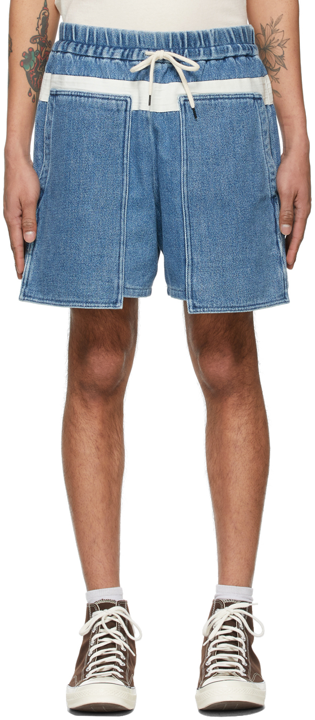 Photo: Kuro Blue Denim Loose Baker Shorts