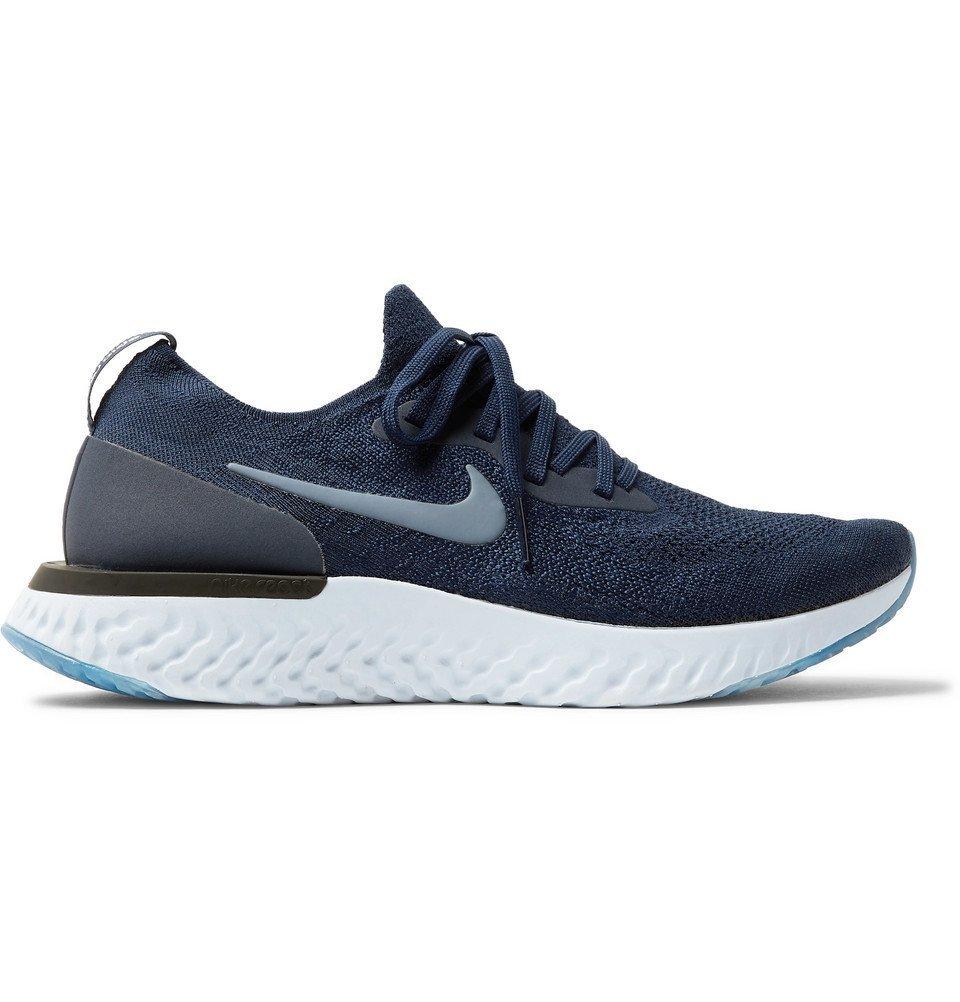 Nike Running - Epic React Rubber-Trimmed Flyknit Sneakers - Men - Navy