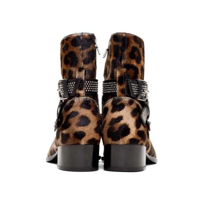 Amiri Brown and Black Leopard Calf-Hair