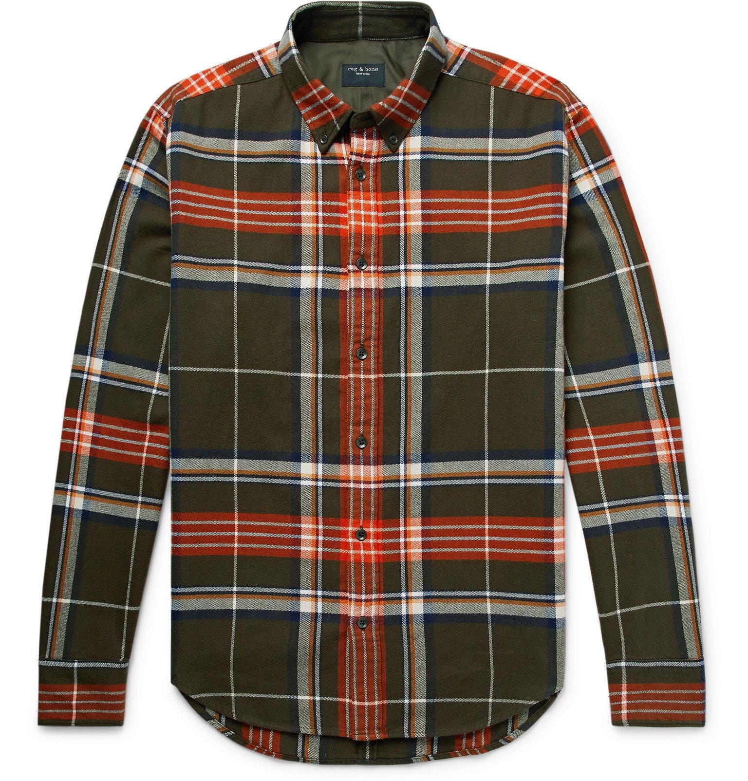 Photo: rag & bone - Tomlin Slim-Fit Button-Down Collar Checked Cotton-Flannel Shirt - Green