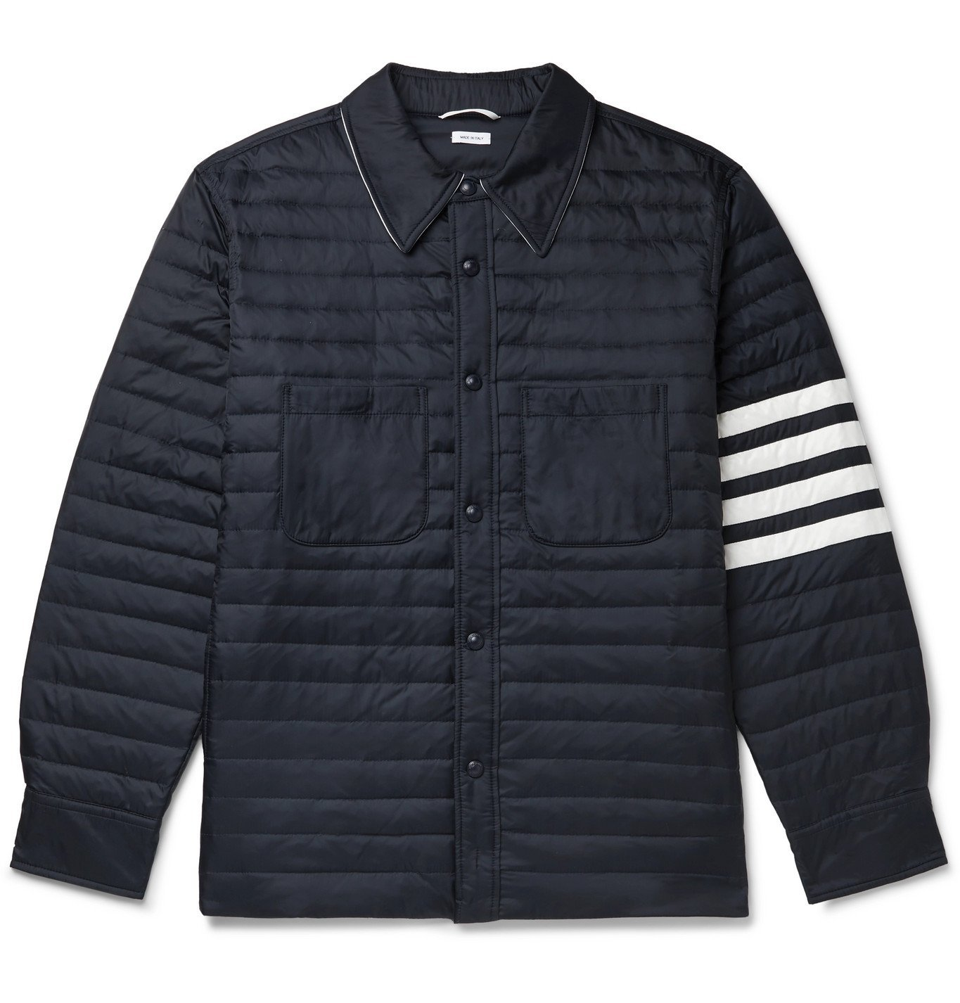 Photo: Thom Browne - Striped Quilted Shell Down Jacket - Blue