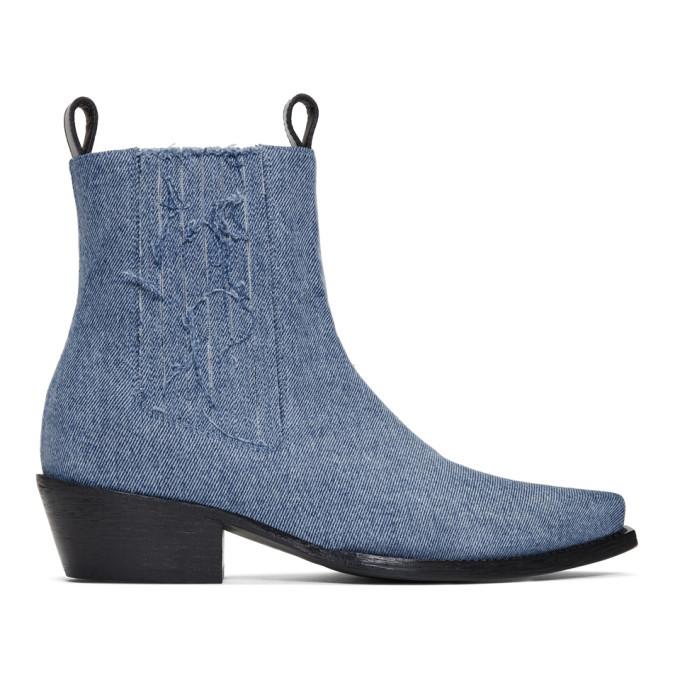 Photo: Diesel Red Tag Indigo Shayne Oliver Edition Denim Chelsea Boots