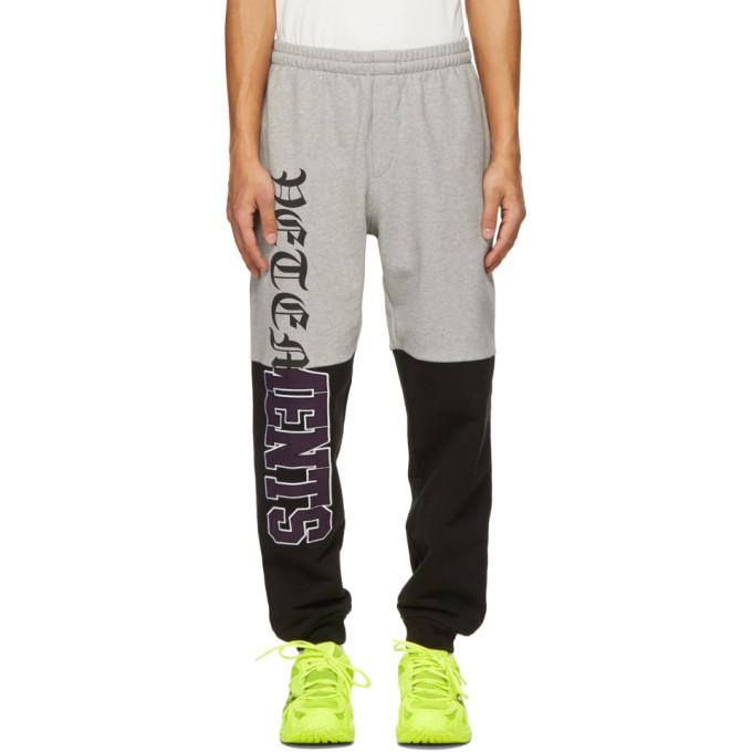 Photo: VETEMENTS Grey and Black Horizontal Cut-Up Logo Lounge Pants