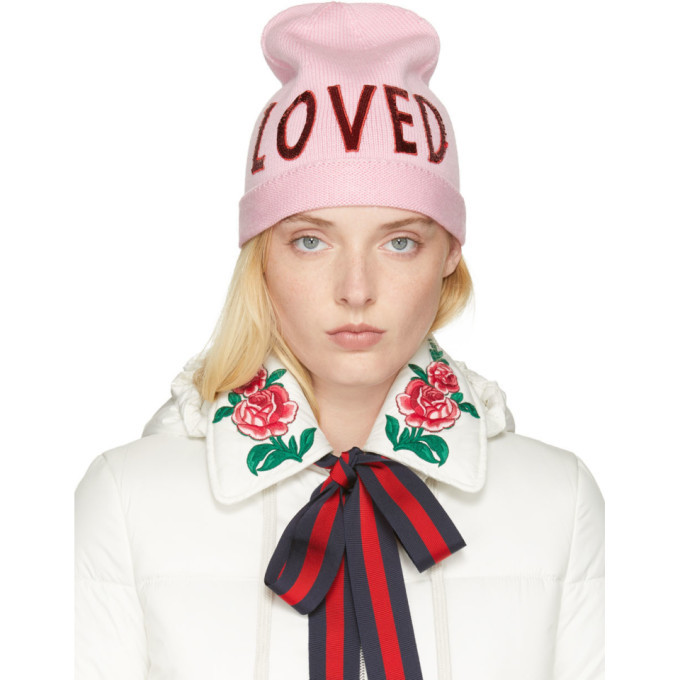 Photo: Gucci Pink Wool Loved Beanie