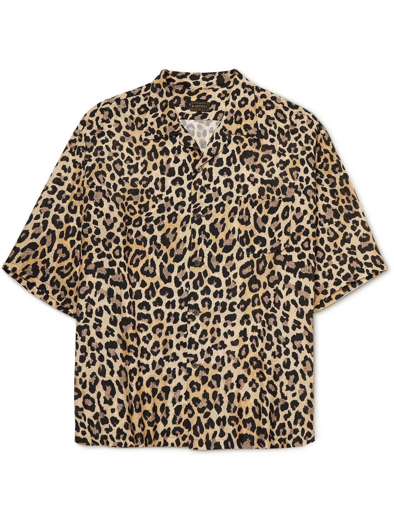 KAPITAL - Oversized Camp-Collar Leopard-Print Voile Shirt - Brown