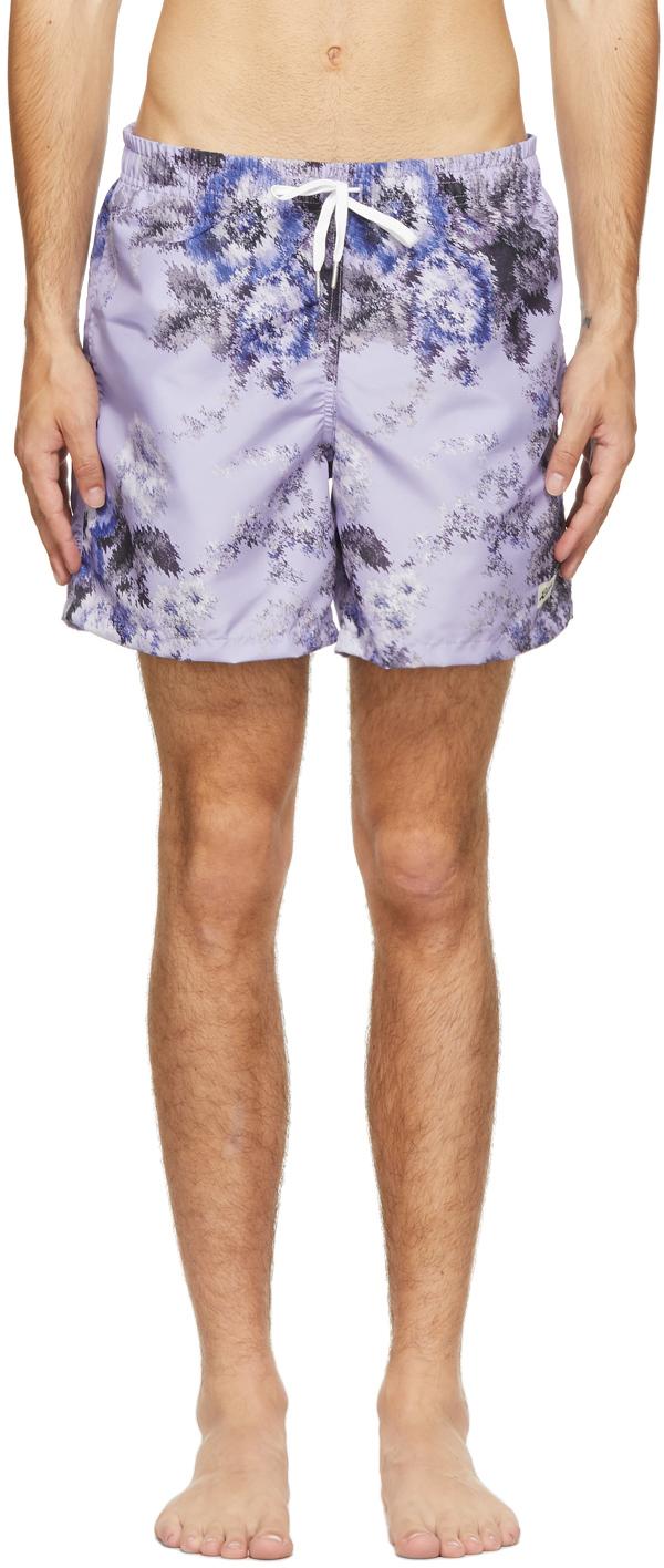 Photo: Bather Purple Floral Ripple Swim Shorts