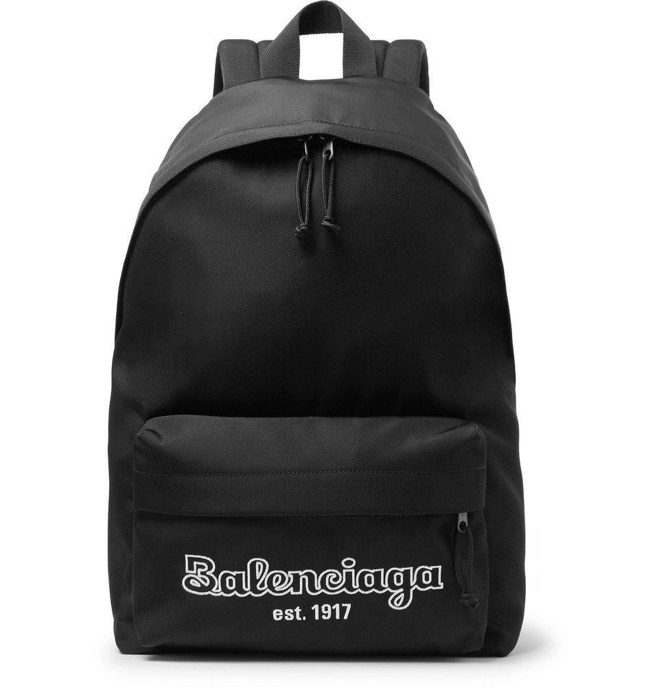Photo: Balenciaga - Logo-Embroidered Canvas Backpack - Black