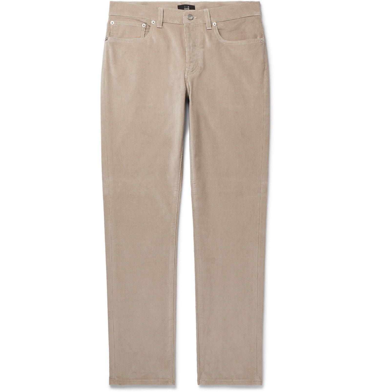 Dunhill - Black Slim-Fit Stretch-Cotton Corduroy Trousers - Neutrals