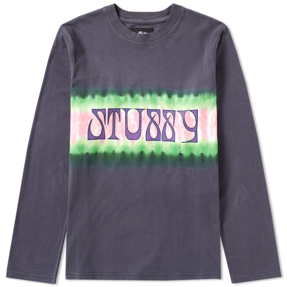 Photo: Stussy Long Sleeve Tie Dye Stripe Jersey Tee Black