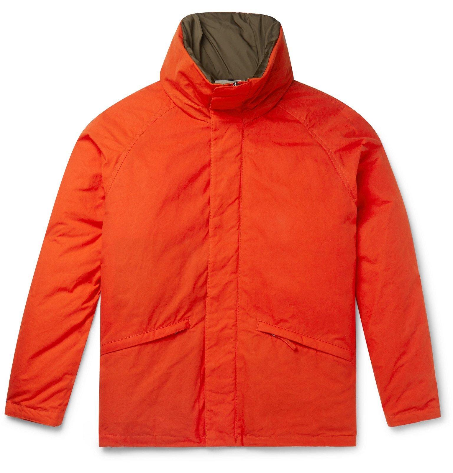 Photo: Aspesi - Garment-Dyed Waxed-Cotton Hooded Down Jacket - Orange