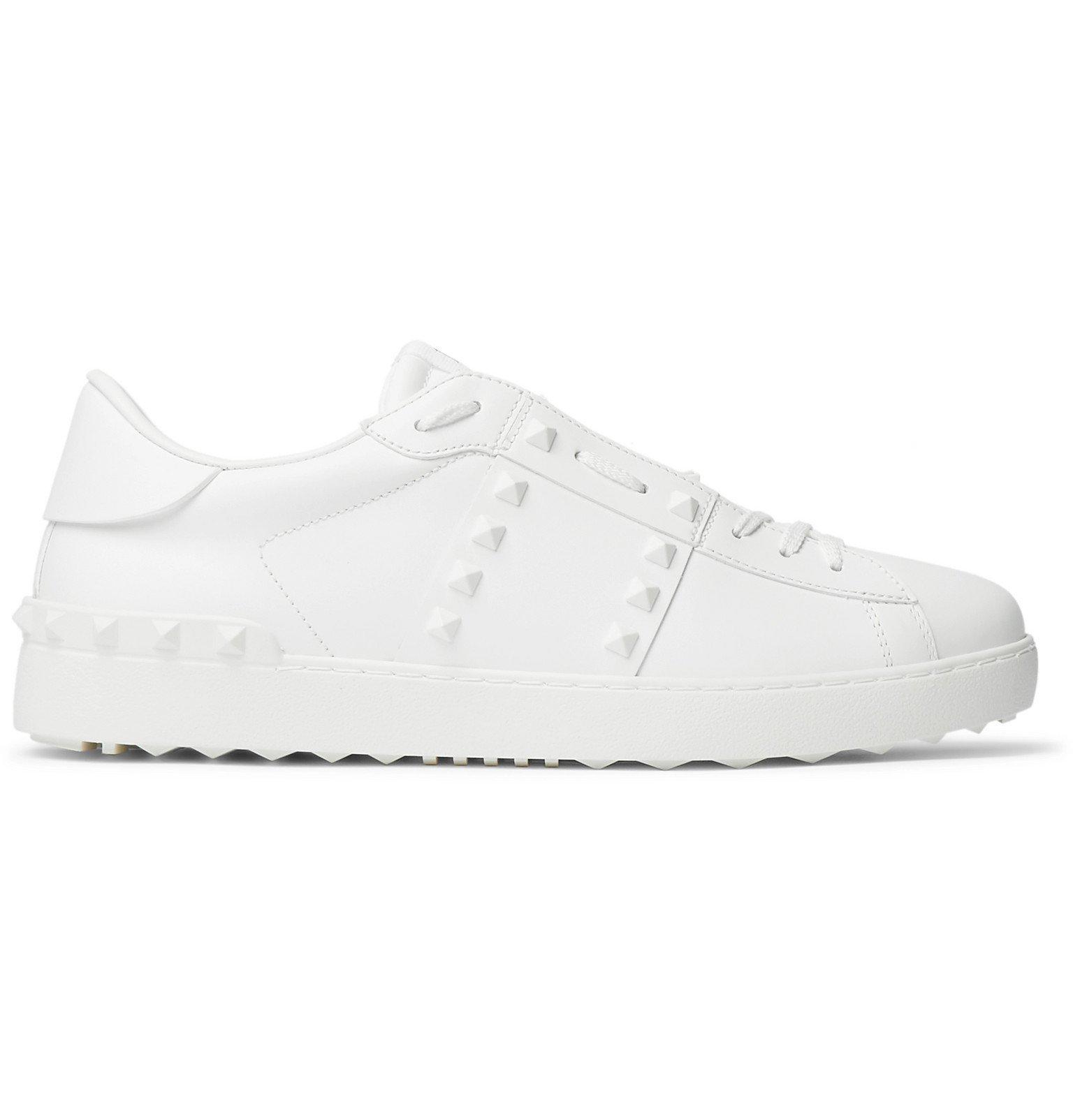 Valentino - Valentino Garavani Open Rockstud Leather Sneakers - White