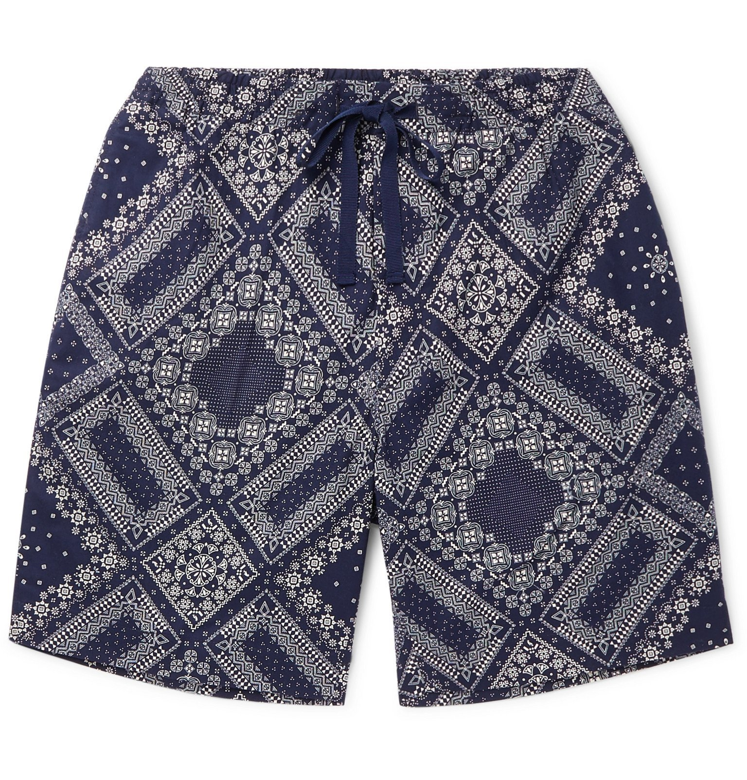Officine Generale - Phil Slim-Fit Bandana-Print Cotton Drawstring Shorts - Blue