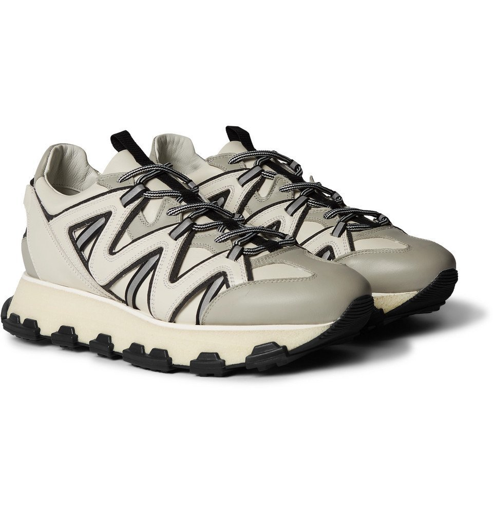 Photo: Lanvin - Lightning Leather Sneakers - Gray