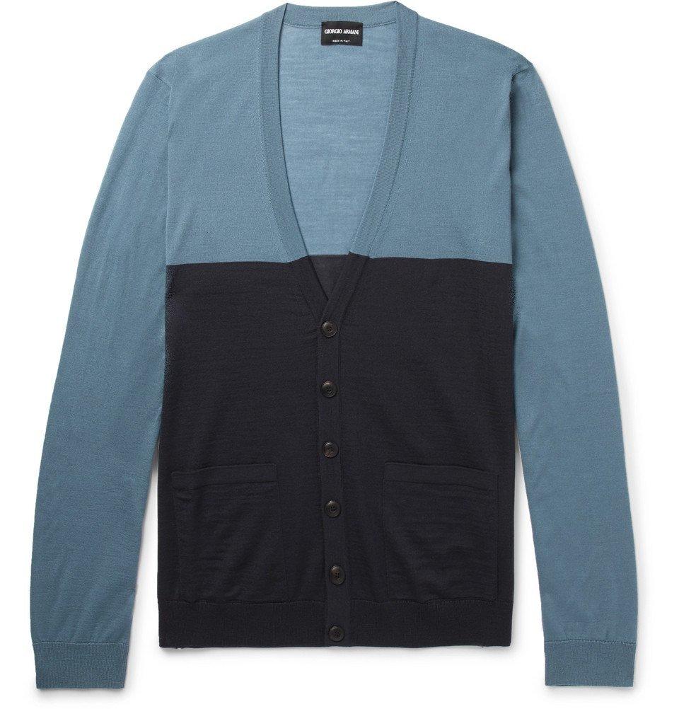 Giorgio Armani - Slim-Fit Two-Tone Wool Cardigan - Blue
