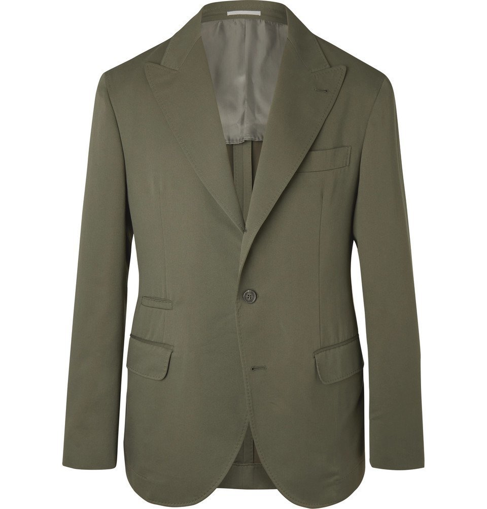 Photo: Brunello Cucinelli - Army-Green Wool and Cotton-Blend Twill Suit Jacket - Green