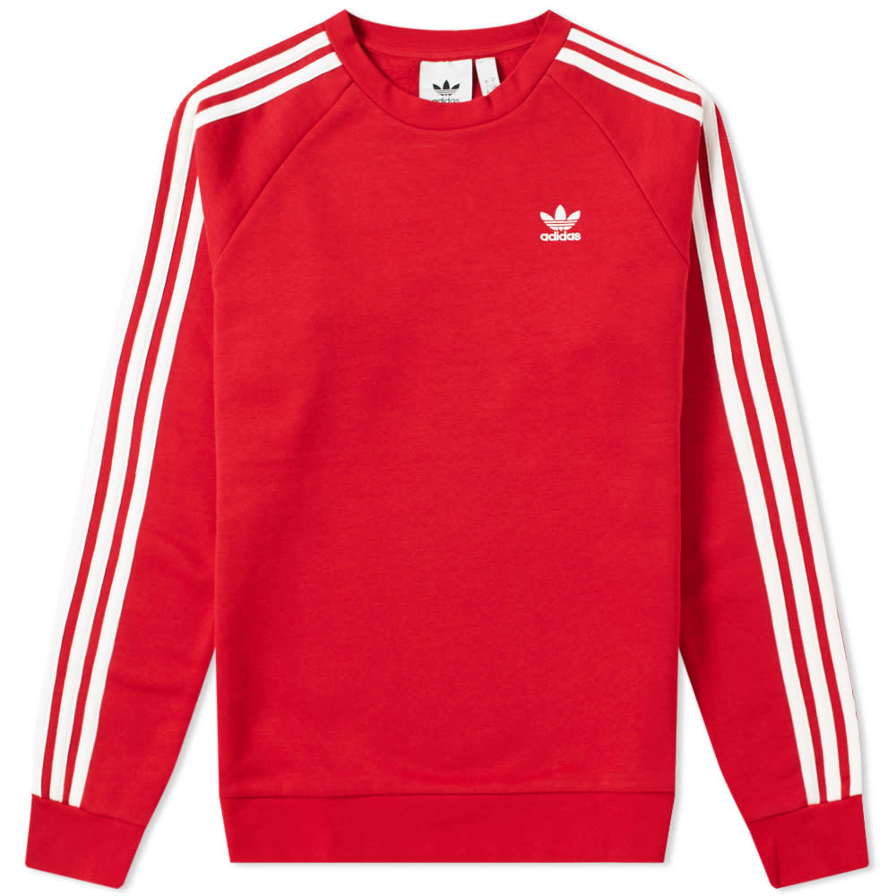 Photo: Adidas Long Sleeve 3 Stripe Crew Sweat Power Red