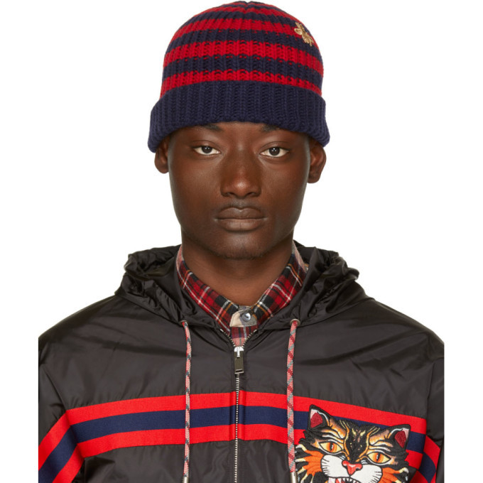 Photo: Gucci Red and Navy Striped Wool Beanie