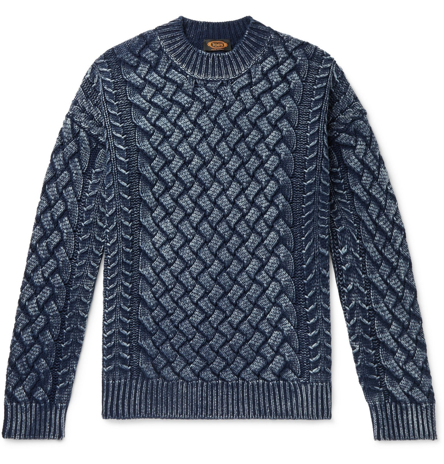 Photo: Tod's - Slim-Fit Cable-Knit Merino Wool Sweater - Blue