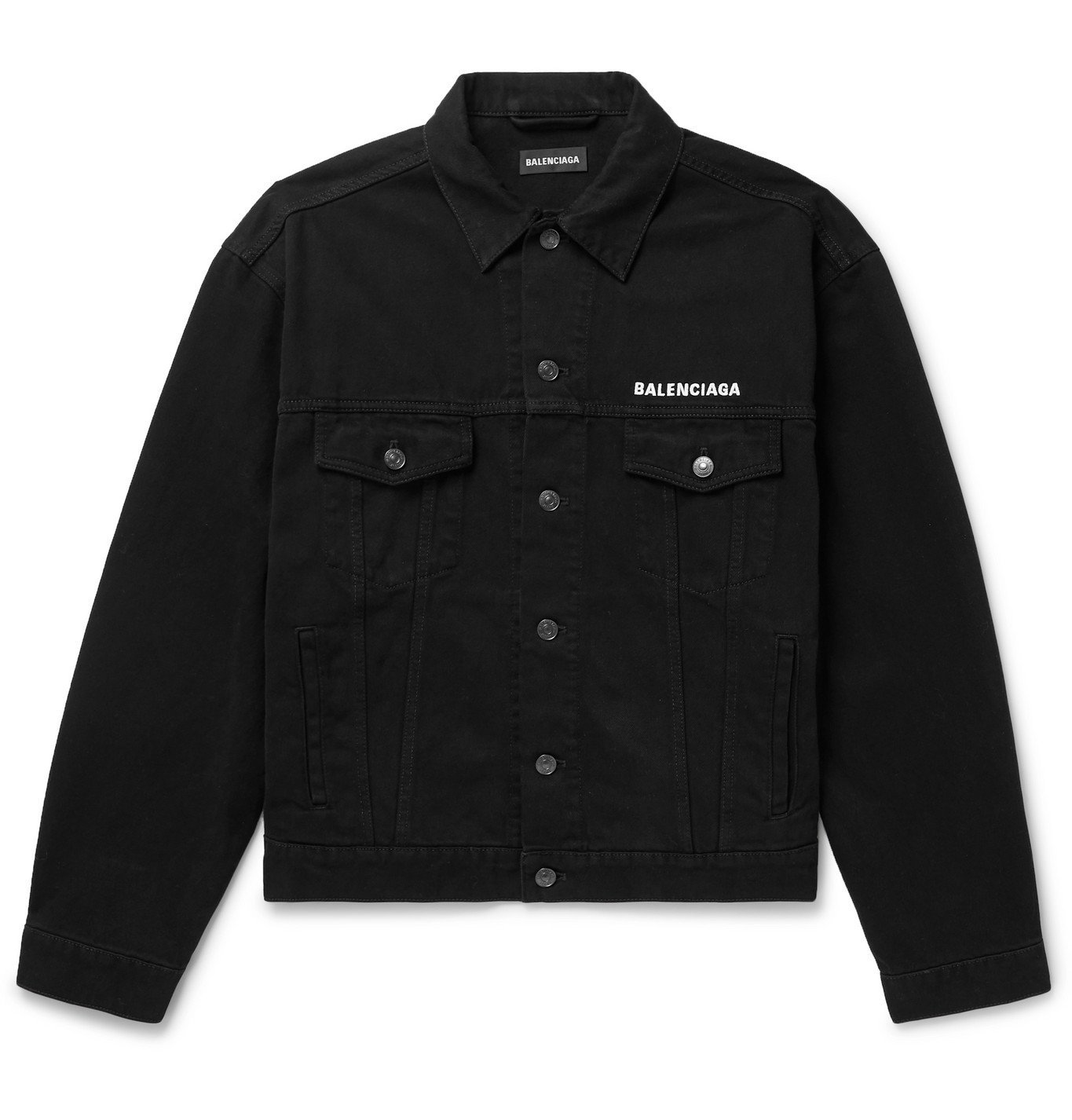 Photo: Balenciaga - Logo-Embroidered Denim Jacket - Black