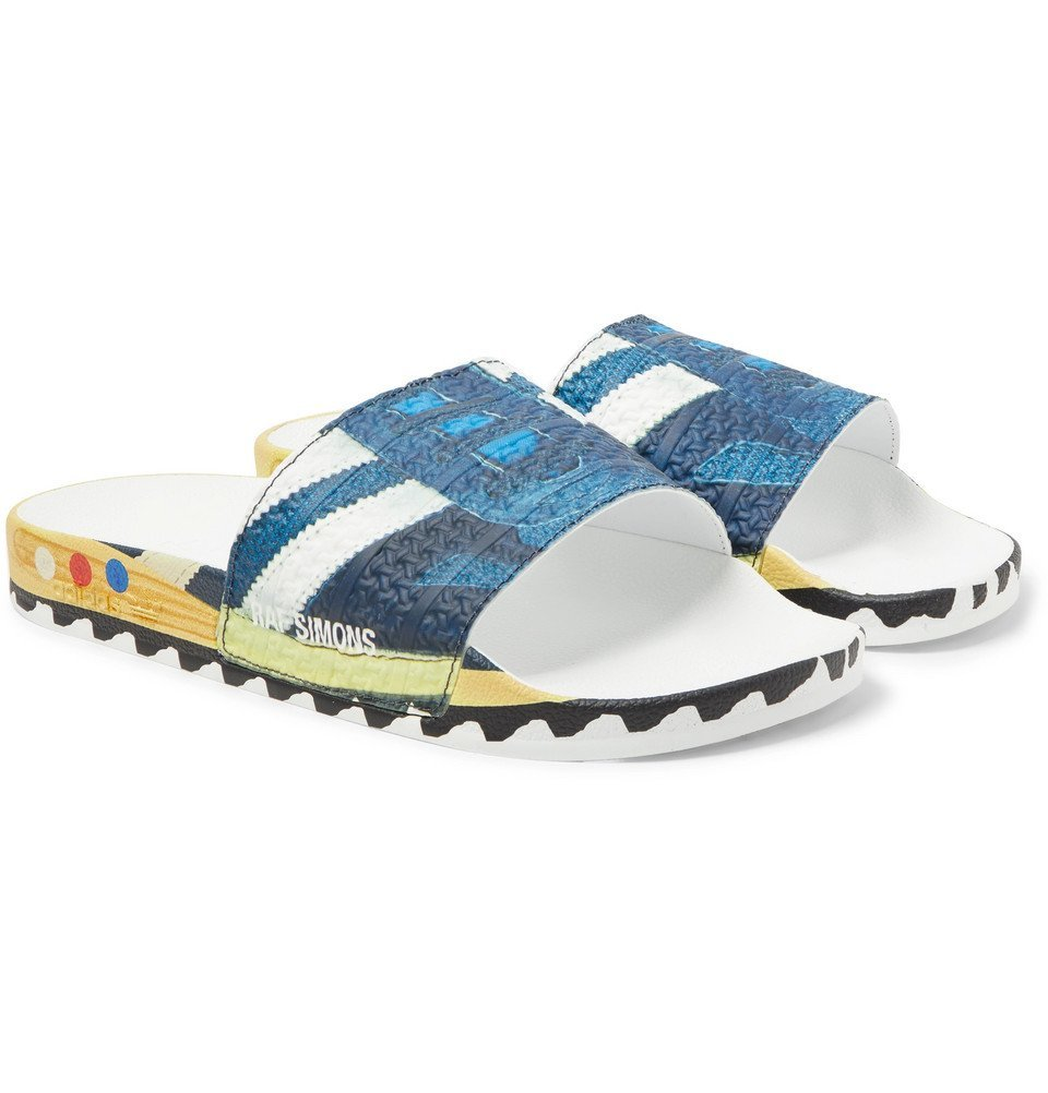 Photo: Raf Simons - adidas Originals LA Adilette Printed Textured-Rubber Slides - Blue