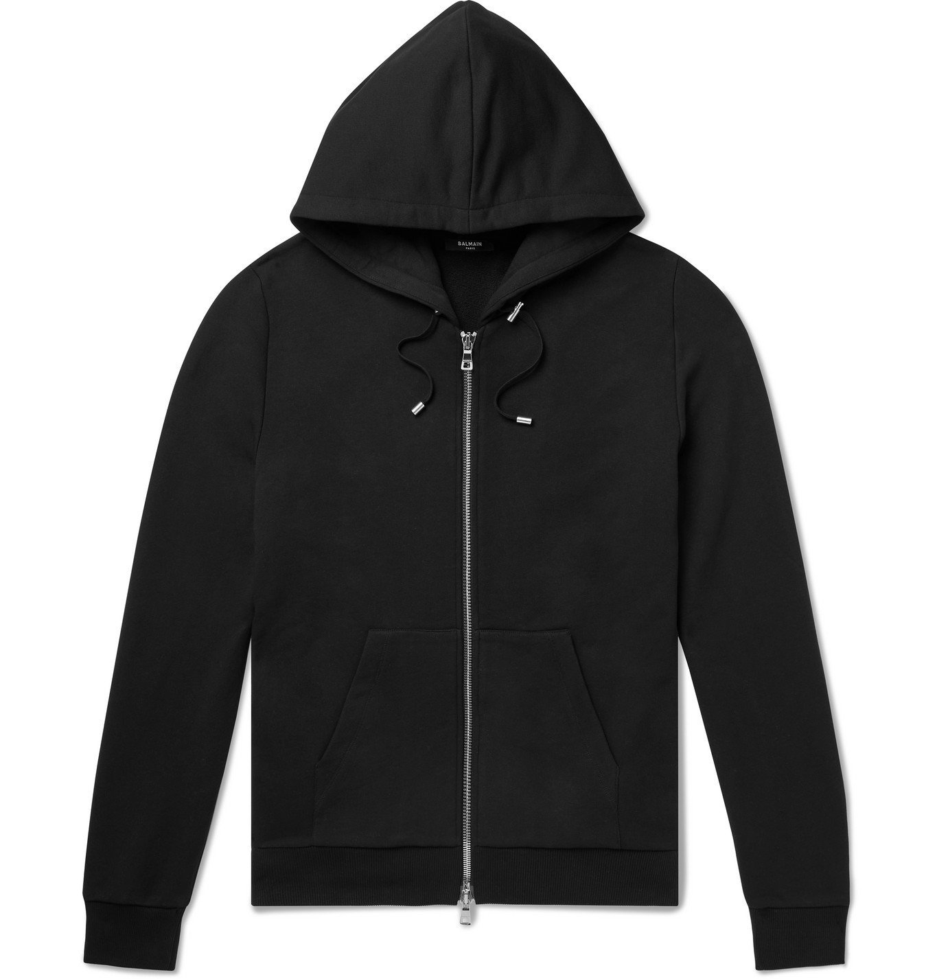 BALMAIN - Logo-Embossed Loopback Cotton-Jersey Hoodie - Black
