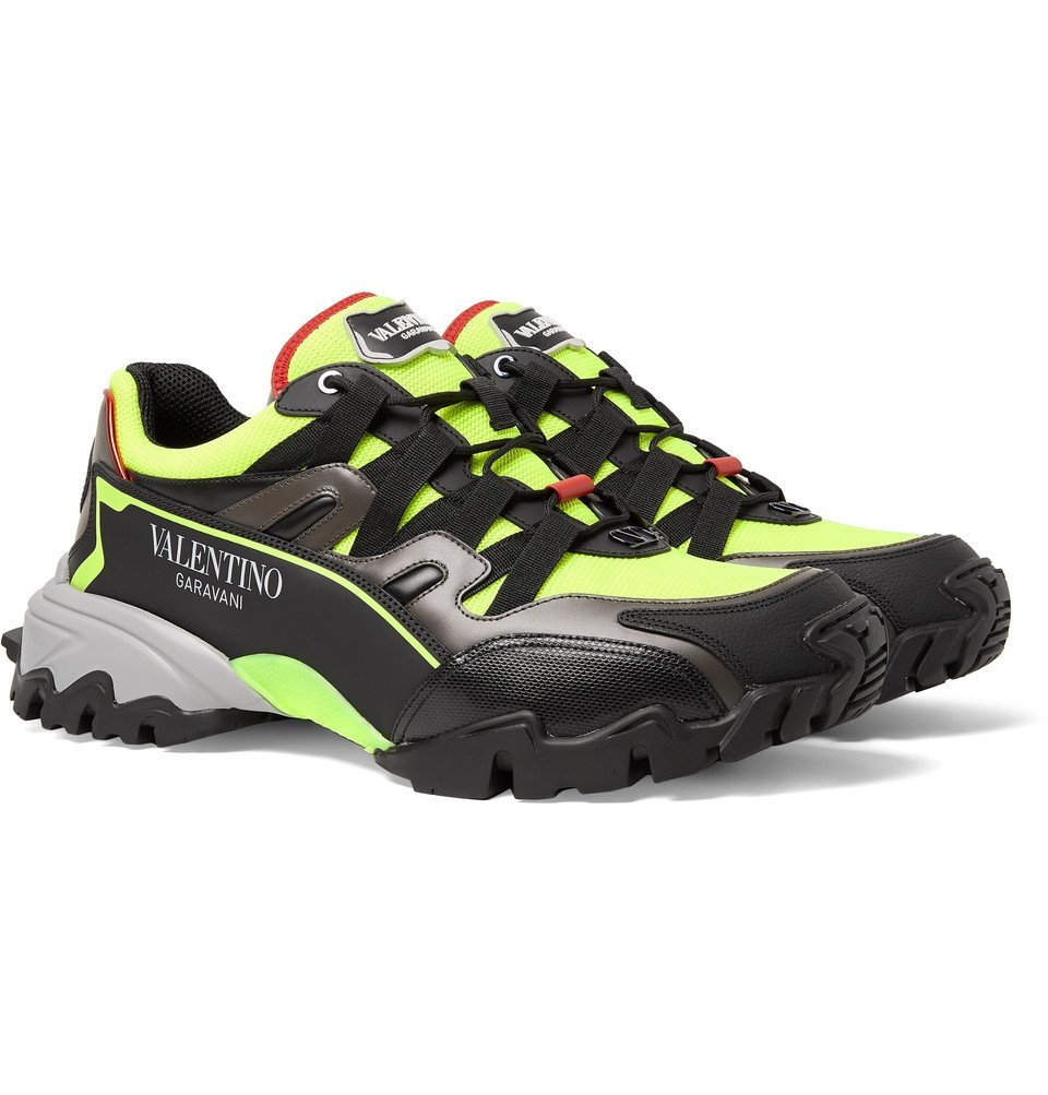 Photo: Valentino - Valentino Garavani Climbers Mesh, Leather and Rubber Sneakers - Yellow