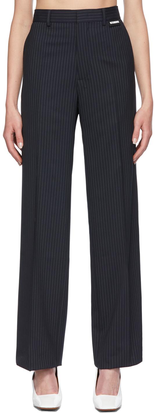 Photo: VETEMENTS Navy Pinstripe Wide-Leg Trousers