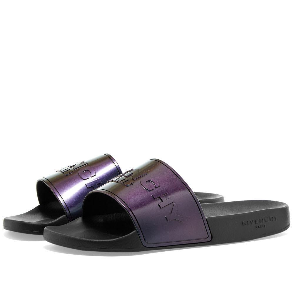 Photo: Givenchy Iridescent Logo Slide Sandal