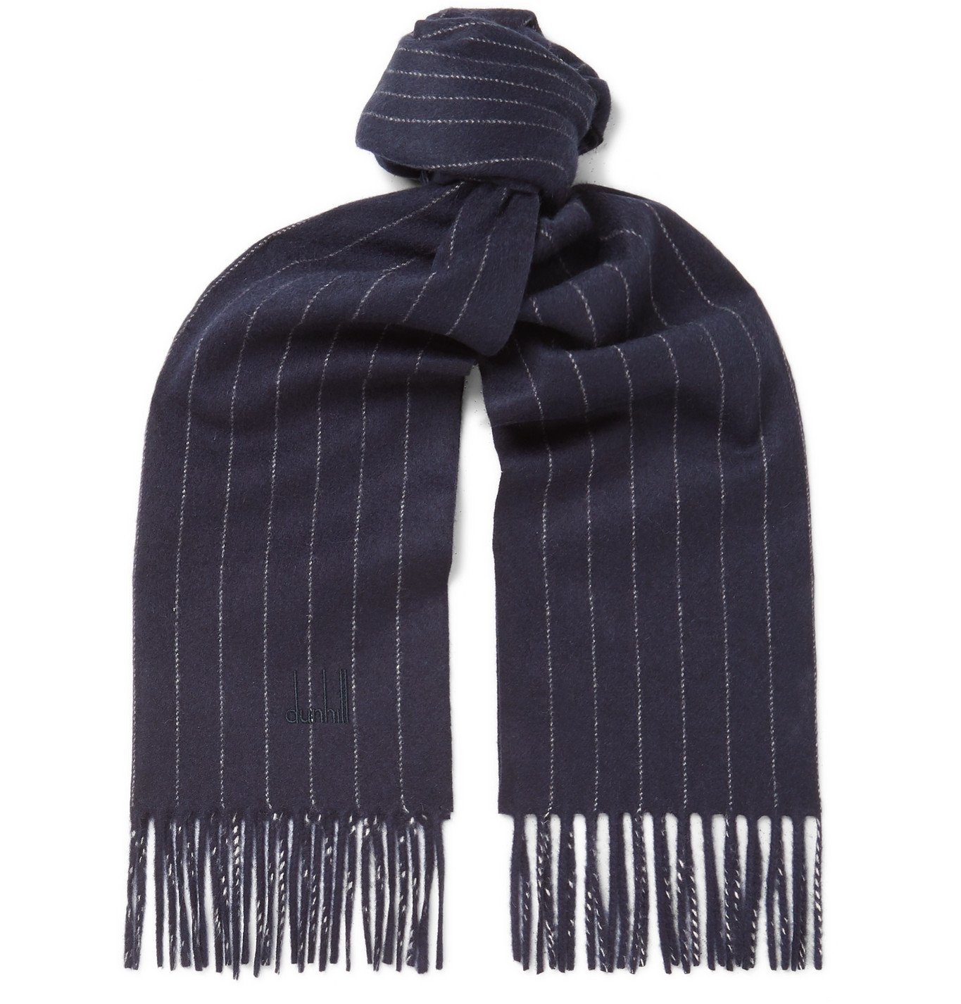 Photo: Dunhill - Fringed Pinstriped Wool and Cashmere-Blend Scarf - Blue