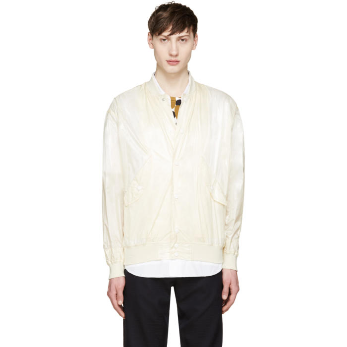 Photo: Toga Virilis Cream Nylon Bomber Jacket