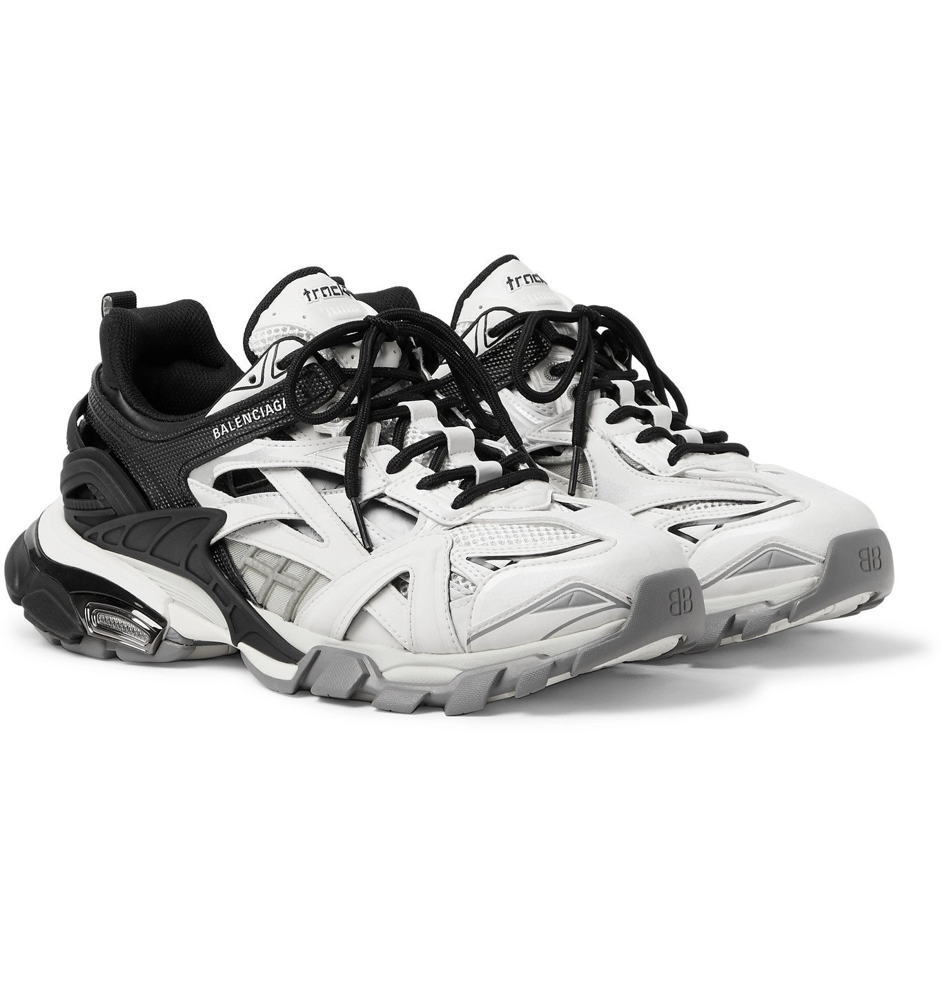 Photo: Balenciaga - Track.2 Nylon, Mesh and Rubber Sneakers - Black