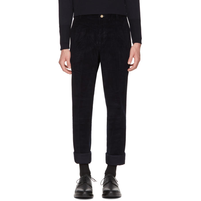 Photo: Thom Browne Navy Corduroy Unconstructed Chinos