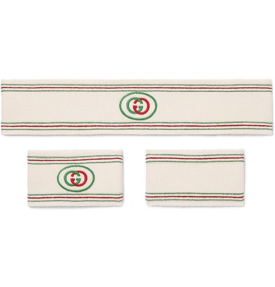 Photo: Gucci - Logo-Detailed Cotton-Blend Headband and Wristbands Set - White