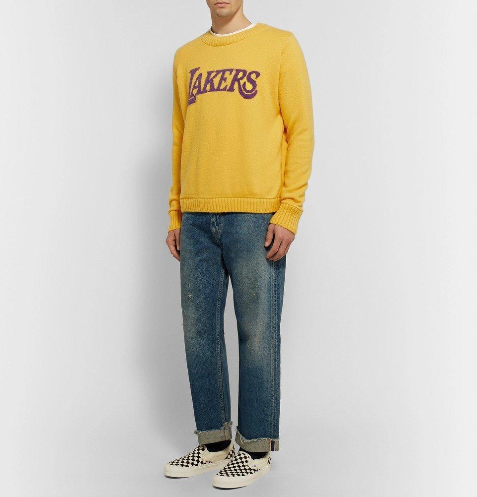 The Elder Statesman - NBA Los Angeles Lakers Intarsia Cashmere Sweater - Yellow