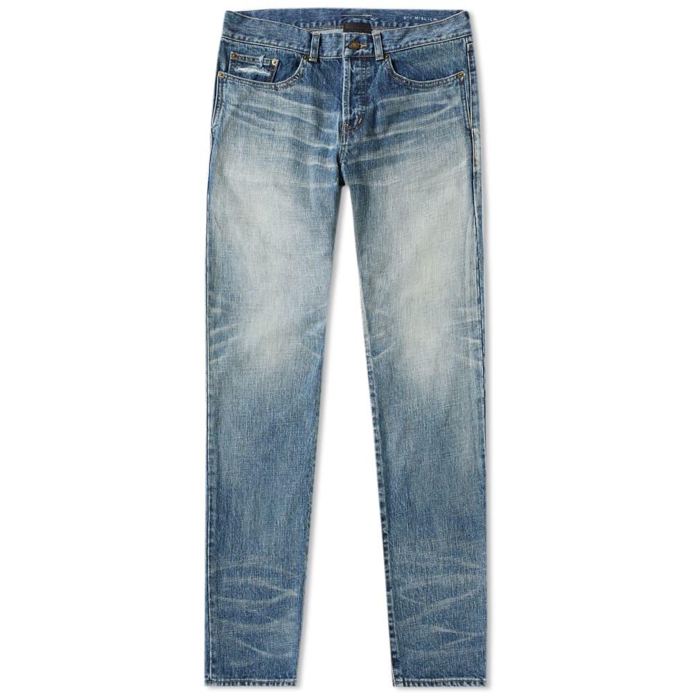 Photo: Saint Laurent Slim Fit Jean Dark Old Used Blue Wash