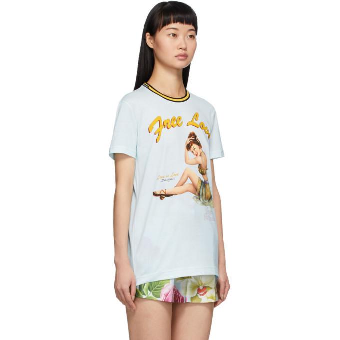 Dolce and Gabbana Blue Pin-Up Free Love T-Shirt