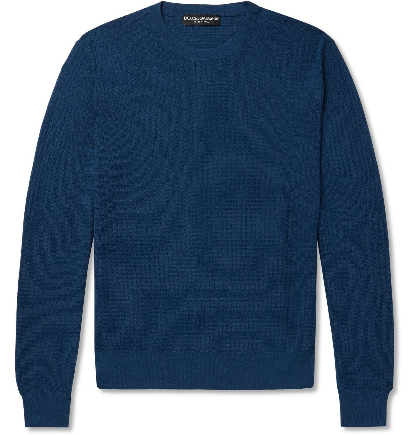 Photo: Dolce & Gabbana - Cashmere and Silk-Blend Jacquard Sweater - Blue